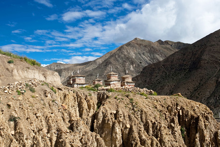 tantric: Ancient buddhist stupa and chortens in Upper Dolpo, Eastern Nepal Stock Photo