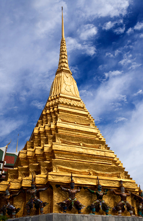 Golden Chedi of Wat Phra Kaew temple in Bangkok, Thailand Stock Photo