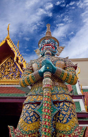 Thotsakhirithon, giant demon (Yaksha) guarding an exit to Grand Palace and Wat Phra Kaew temple in Bangkok, Thailand