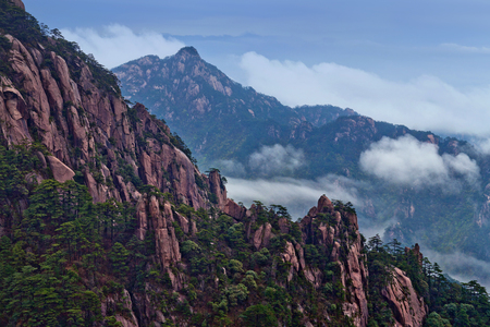 Huangshan Mountain (Yellow Mountain), China. Of all the notable mountains in China, it is probably the most famous to be found in the south of Anhui province. Stock Photo