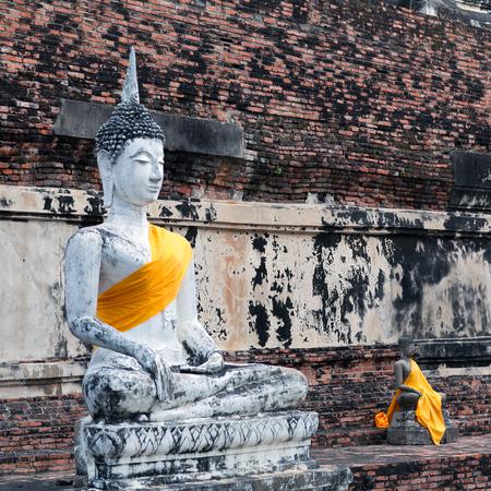 Buddha statues in Wat Yai Chaimongkol in Ayutthaya, Thailand