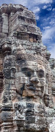 Panorama of ancient stone reliefs of Prasat Bayon temple (late 12th - early 13th century) in Angkor Thom, Cambodia