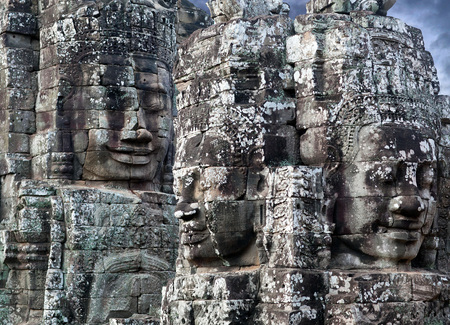 prasat bayon: Ancient bas-relief of Prasat Bayon temple (late 12th - early 13th century) in Angkor Thom, Cambodia
