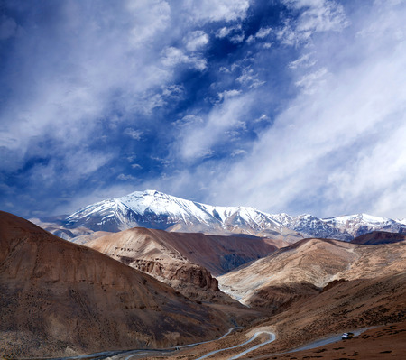 Himalayan mountain landscape along Manali - Leh National Highway in Ladakh, Jammu and Kashmir state, India
