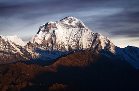 Panorama of mount Dhaulagiri - view from Poon Hill on Annapurna Circuit Trek in Nepal Himalaya. Dhaulagiri I is the seventh highest mountain in the world at 8167 metres (26,795 ft) above sea level