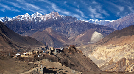 Jarkot ancient village - view from Muktinath valley in Mustang district, Annapurna Conservation Area, Nepal, Himalayas