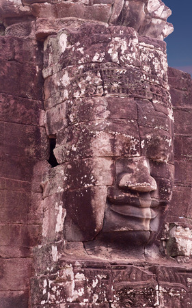 Ancient bas-relief of Prasat Bayon temple, late 12th - early 13th century, in Angkor Thom, Cambodia