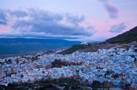 northwest africa: Panorama of Chefchaouen blue medina at sunset in Morocco, Africa. Chefchaouen or Chaouen is a city in northwest Morocco