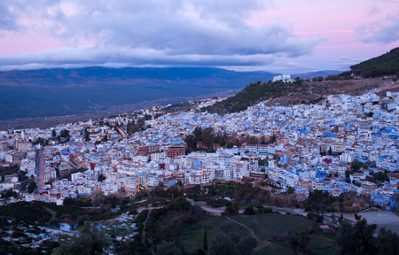 northwest africa: Panorama of famous Chefchaouen blue Medina at sunset in Morocco, Africa. Chefchaouen or Chaouen is a city in northwest Morocco.