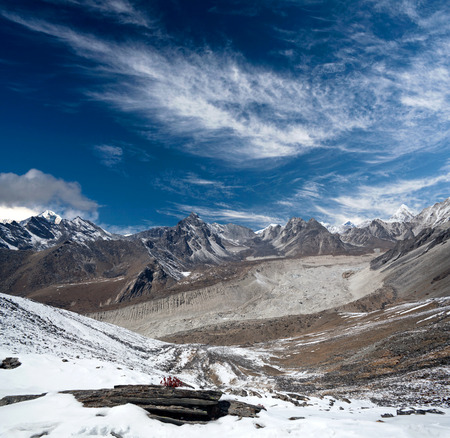 Panorama of Himalayan mountain landscape in Sagarmatha National Park - view from Chhukhung Ri in Everest Region, Nepal, Himalayas