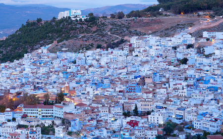 northwest africa: Panorama of famous Chefchaouen blue town at sunset in Morocco, Africa. Chefchaouen or Chaouen is a city in northwest Morocco
