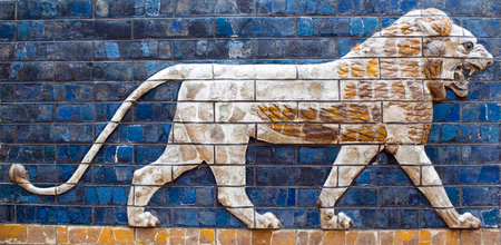 Ancient glazed brick panel with Lion - details of Babylonian Ischtar Tor, also called Ishtar Gate