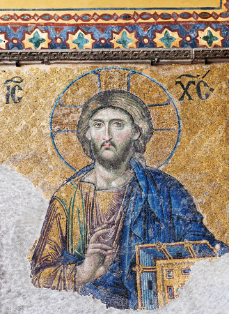 Deesis - ancient Byzantine mosaic in Hagia Sophia church, showing the Judgment day with Jesus Christ. the Deesis mosaic probably dates from 1261. 에디토리얼
