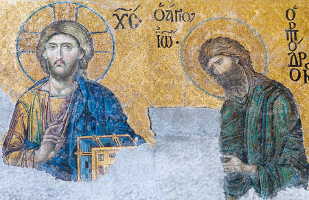 Deesis - Byzantine mosaic in Hagia Sophia church, showing Jesus Christ and John the Baptist (Ioannes Prodromos), probably dates from 1261
