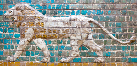 Glazed brick panel with Lion - details of the Babylonian Ischtar Tor (Ishtar Gate) Editorial