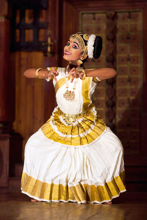 COCHIN, INDIA - JANUARY 21, 2016: Young Indian girl dancing Mohinyattam dance