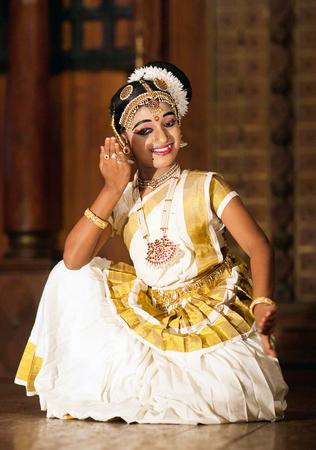 COCHIN, INDIA - JANUARY 21, 2016: Indian girl dancing Mohinyattam Dance in Fort Cochin, Kerala