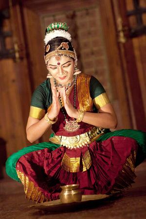 COCHIN, INDIA - JANUARY 21, 2016: Indian girl dancing classical traditional Indian dance Kuchipudi in Kerala Kathakali Center in Fort Cochin, South India. Editorial