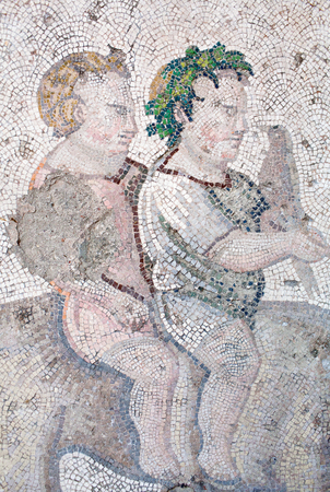Mosaic from the Byzantine period in the Great Palace in Istanbul, Turkey. Great Palace was constructed during the reign of Justinian I (527-565)