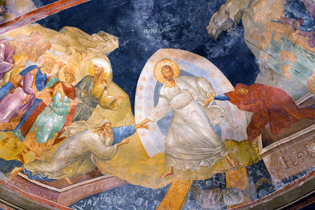 ISTANBUL, TURKEY - OCTOBER 31, 2015: The Anastasis fresco in the parecclesion of the Church of the Holy Saviour in Chora (Kariye Camii). Stok Fotoğraf - 85597417