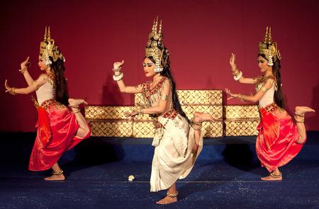 PHNOM PENH, CAMBODIA - JANUARY 10, 2013: Khmer classical dancers performing Apsara Dance. Apsara Dance is the ancient classical dance form of Cambodia.