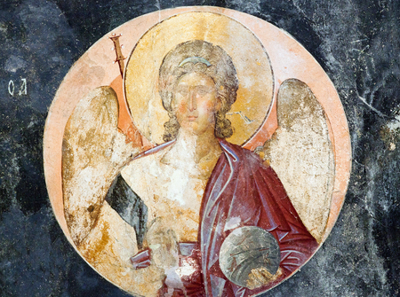 ISTANBUL, TURKEY - OCTOBER 31, 2015: Archangel Michael - ancient painted fresco in Church of the Holy Saviour in Chora (Kariye Camii) in Istanbul,Turkey. Built in the 11th century and decorated in the 14th, the Church contains one of the best-preserved co