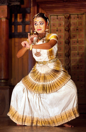 COCHIN, INDIA - JANUARY 21, 2016: Beautiful Indian girl dancing Mohinyattam Dance