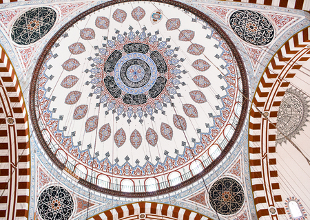 ISTANBUL, TURKEY - OCTOBER 31: Ceiling decoration of Sehzade Mosque, built in 1548 by Mimar Sinan, on October 31, 2015 in Istanbul, Turkey. Editorial