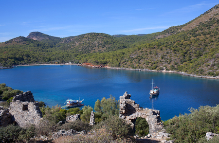 Gemiler island in Mugla province, Turkey. Archaeologists believe it was the location of the original tomb of Saint Nicholas.