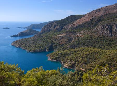 Aerial view of beautiful lagoon on Lycian way in Olu Deniz, Turkey