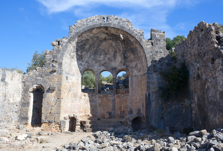 Ancient Church on Gemiler Island in Mugla province, Turkey. Archaeologists believe it was the location of the original tomb of Saint Nicholas.