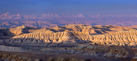 Panorama of Earth Forest Geopark at sunset in Zhada County, Tibetan Autonomus Region of China. It is the largest and most distinctive clay forest that was formed due to the air-slaking of the tertiary stratum.