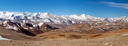 Panorama of snowcapped Himalaya Mountains in Ngari Prefecture, Tibet autonomous region of China