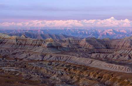 Earth Forest Geopark at sunset in Zhada County, Tibet, China