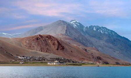 Korzok village and Tso Moriri lake in Ladakh, Jammu and Kashmir, North India. The lake is at an altitude of 4 595 m Stock Photo