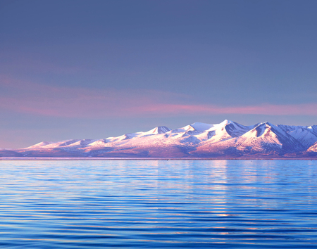 Lake Manasarovar in Western Tibet. According to the Hindu religion, the lake was first created in the mind of the Lord Brahma after which it manifested on Earth Stock Photo