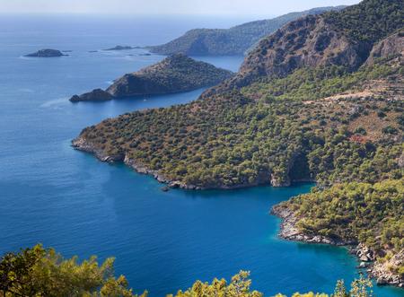 Aerial view on Lycian way in Olu Deniz, Turkey Stock Photo