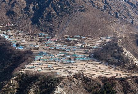 Himalayan village Phortse on the way to Everest base camp, Khumbu, Sagarmatha National Park, Nepal Himalayas