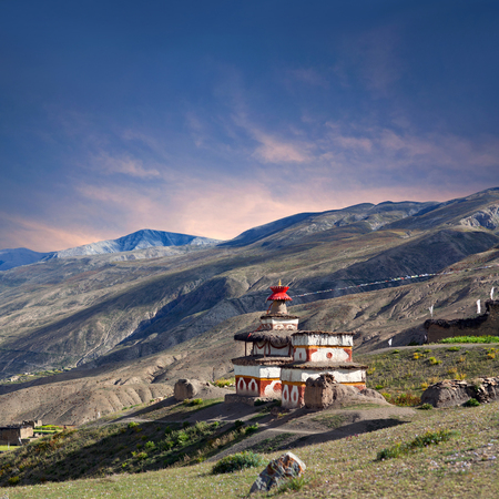 Ancient Bon stupa in Saldang village, Nepal. Saldang lies in Nankhang Valley, the most populous of the sparsely populated valleys making up the culturally Tibetan region of Dolpo.