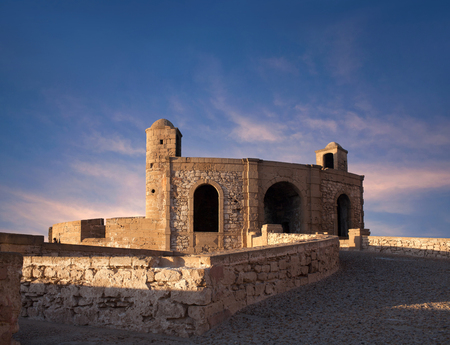 Ancient fortress on the Atlantic coast at sunset in Essaouira, Morocco, North Africa