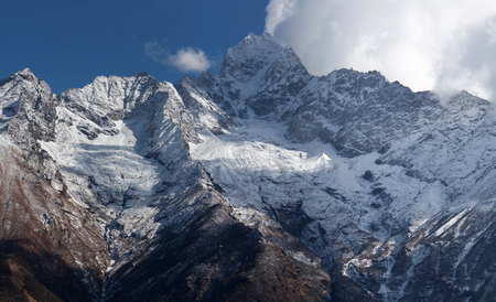 Panorama of Thamserku mount, elevation 6623 m in Sagarmatha National park, Nepal Himalayas