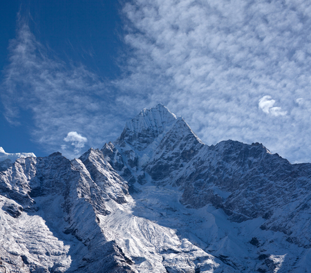 Thamserku mount, elevation 6623 m in Sagarmatha National park, Nepal Himalayas
