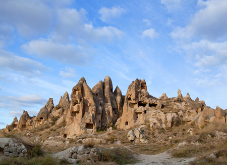 Unique geological formations in Cappadocia, Central Anatolia, Turkey. Cappadocian Region with its valley, canyon, hills located between the volcanic mountains Erciyes, Melendiz and Hasan. Stock fotó