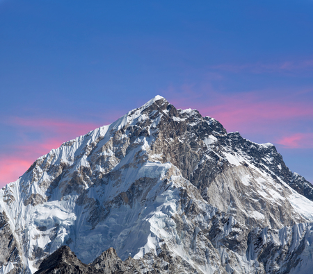 Trekking in the Nepal Himalaya - Mount Nuptse view from Everest Base Camp, Sagarmatha National Park Stock Photo