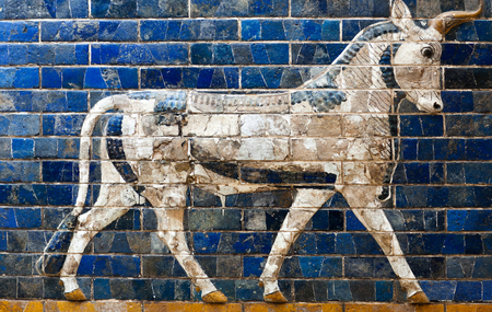 ISTANBUL, TURKEY - OCTOBER 30, 2015: Glazed brick panel with Bull - details of the Babylonian Ischtar Tor