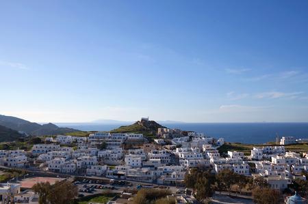 Panorama of Chora town, the capital of Ios island, Cyclades, Greece 新聞圖片