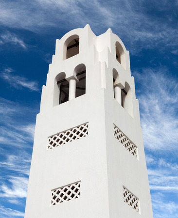 Bell tower of Orthodox Metropolitan Cathedral Church of Candlemas of The Lord church in Fira, Santorini island, Cyclades, Greece