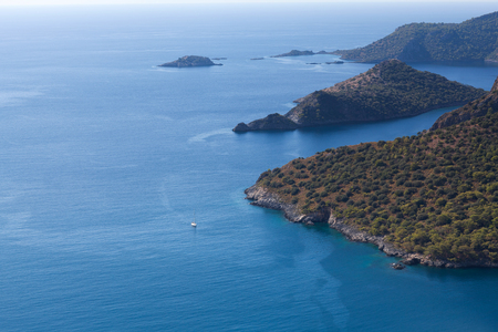 Aerial view of beautiful lagoon on Lycian way in Olu Deniz, Turkey