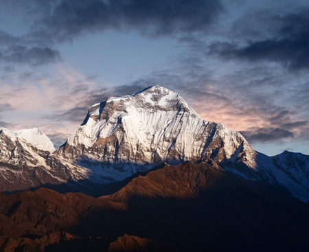 Panorama of mount Dhaulagiri - view from Poon Hill on Annapurna Circuit Trek in the Nepal Himalaya.