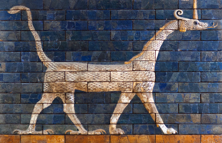 ISTANBUL, TURKEY - JANUARY 12, 2018: Ancient glazed brick panel with Sirrush from the Babylonian
